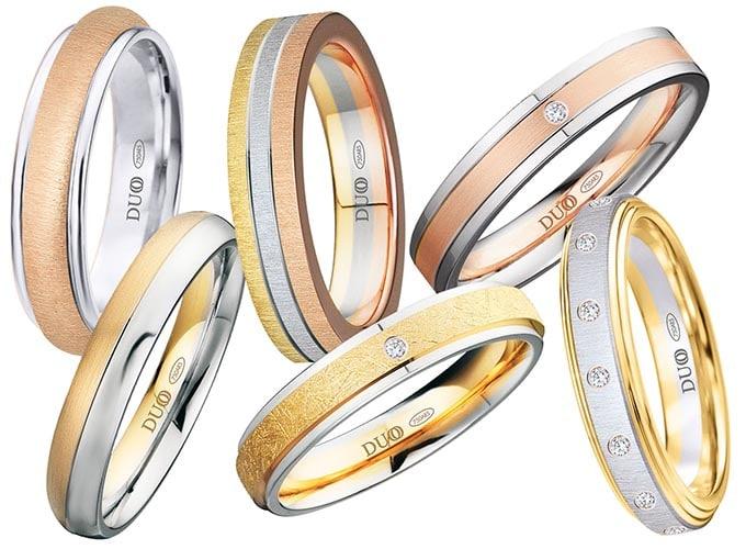 alianzas de boda combinadas en varios colores