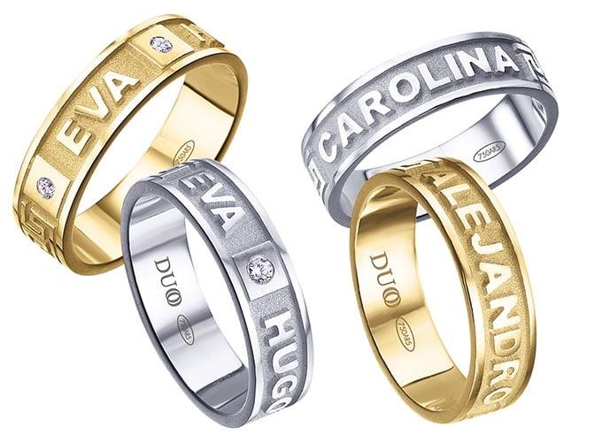 anillos de boda con nombres grabados en altorrelieve