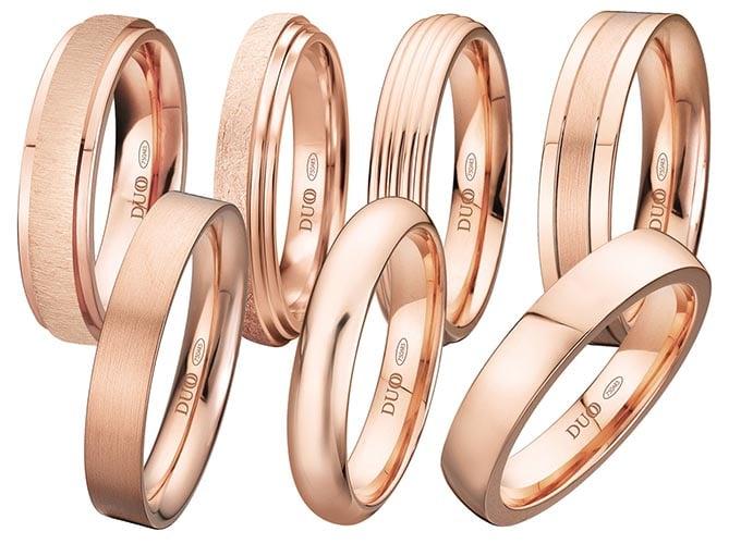 alianzas de boda de oro rosa